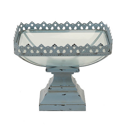 Blue Filigree Metal and Glass Bowl