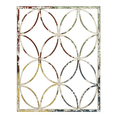 Distressed Multicolor Geometric Metal Plaque