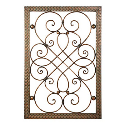 Copper Embossed Scroll Metal Plaque