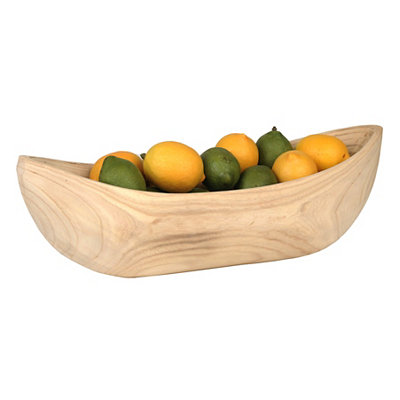 Oblong Natural Wood Bowl