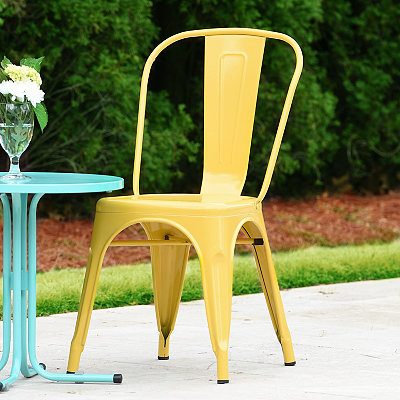 Yellow Retro Outdoor Metal Chair