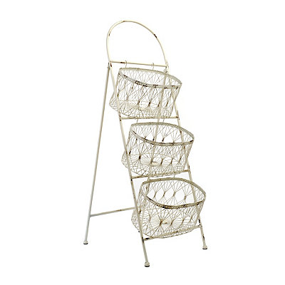 White 3-Tier Storage Basket Tower