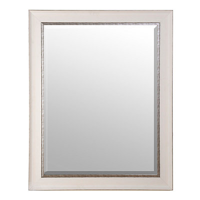 White and Silver Framed Mirror, 37x47