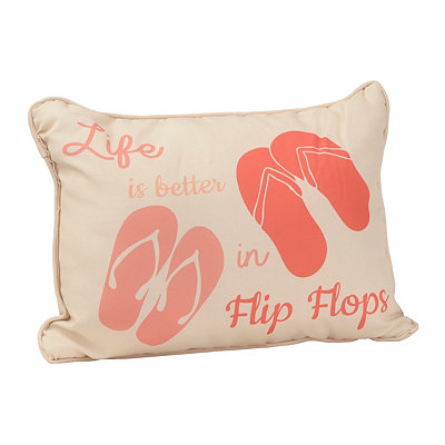 Coral Flip Flops Outdoor Accent Pillow