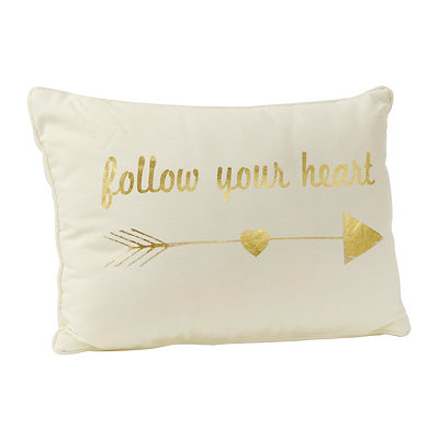 Metallic Gold Follow Your Heart Pillow