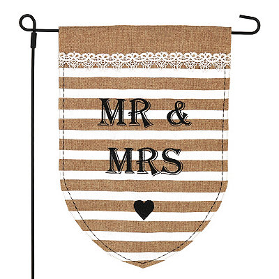 Mr. and Mrs. Burlap Flag Set