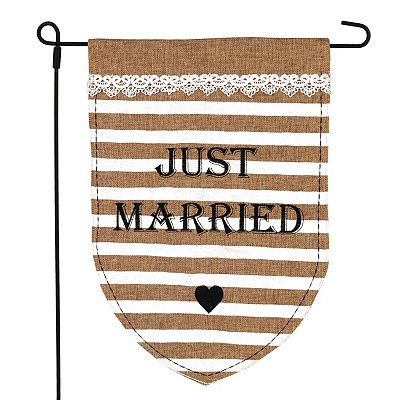 Just Married Burlap Flag Set
