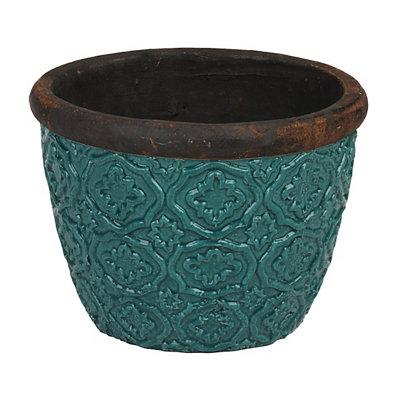 Turquoise Geometric Ceramic Planter, 12 in.