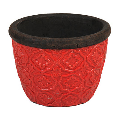 Red Geometric Ceramic Planter, 12 in.
