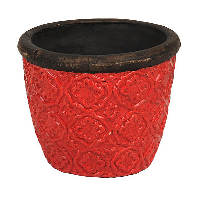 Red Geometric Ceramic Planter, 9 in.