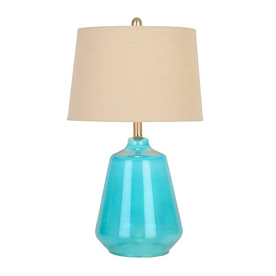 Sapphire Blue Seeded Glass Table Lamp