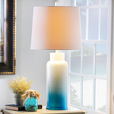 Blue Ice Glass Table Lamp