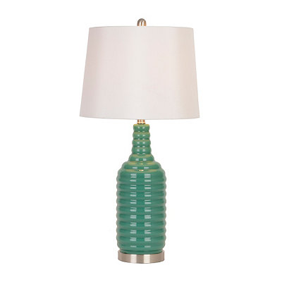 Ridged Turquoise Glass Table Lamp
