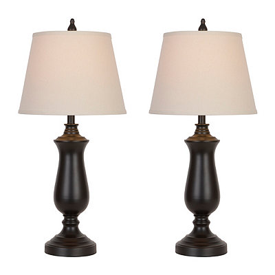 Brushed Bronze Metal Table Lamps, Set of 2