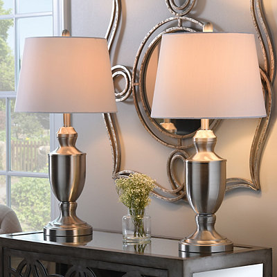 Brushed Steel Baluster Table Lamps, Set of 2
