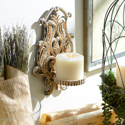 Distressed Ivory Belle Sconce