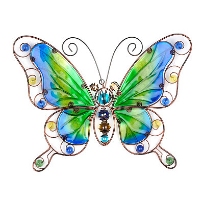Blue And Green Butterfly Metal Wall Plaque