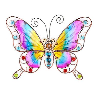 Purple And Yellow Butterfly Metal Wall Plaque