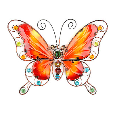 Red And Orange Butterfly Metal Wall Plaque
