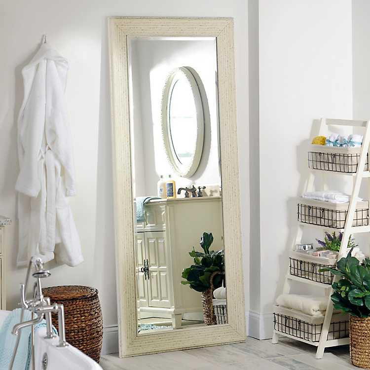 White shabby full length mirror in kirklands for Full length mirror in living room