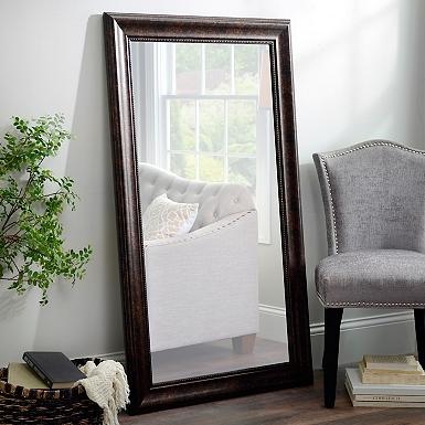 Beaded Bronze Framed Mirror 32x56 In