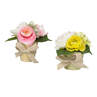 Spring Peony Mix Arrangements with Burlap Bow