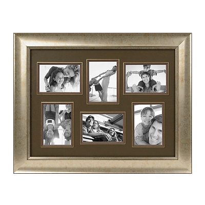 Antique Silver 6-Opening Collage Frame