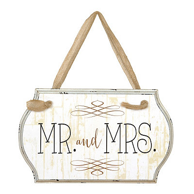 Mr. and Mrs. Burlap Ribbon Wooden Plaque