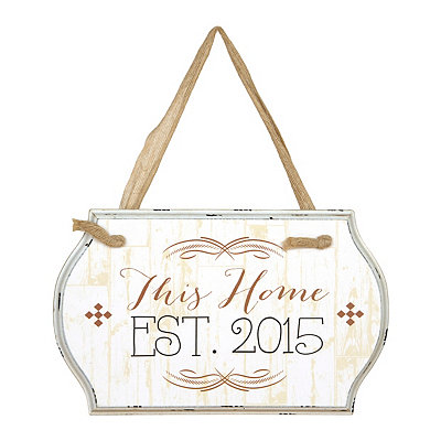 This Home Est. 2015 Burlap Ribbon Wooden Plaque