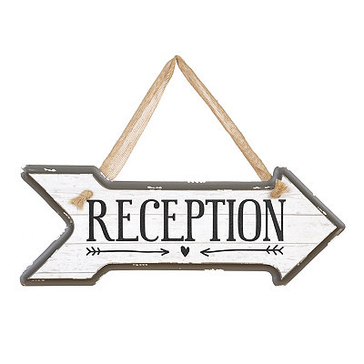 Reception Arrow Wooden Sign, Right