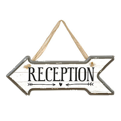 Reception Arrow Wooden Sign, Left