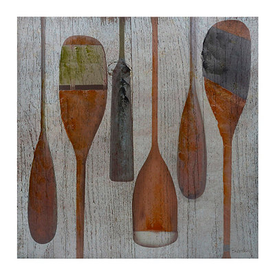 Distressed Wooden Oars Canvas Art Print