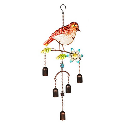 Glass Red Bird Wind Chime
