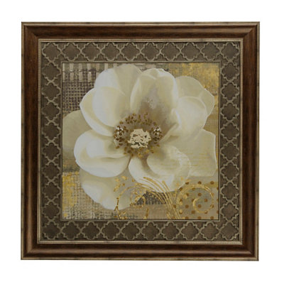White Shimmer Poppy I Framed Art Print