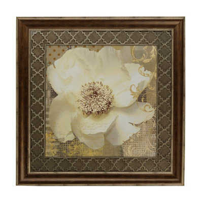 White Shimmer Poppy II Framed Art Print
