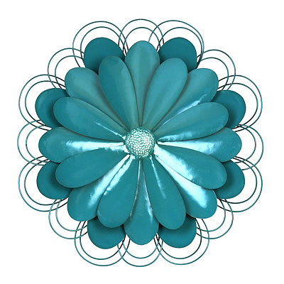 Blue Metal Flower Plaque
