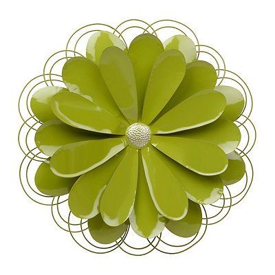 Green Metal Flower Plaque