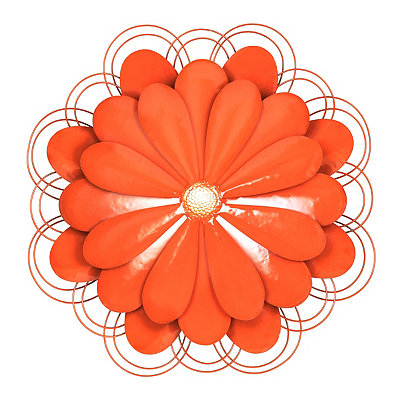 Red Metal Flower Plaque