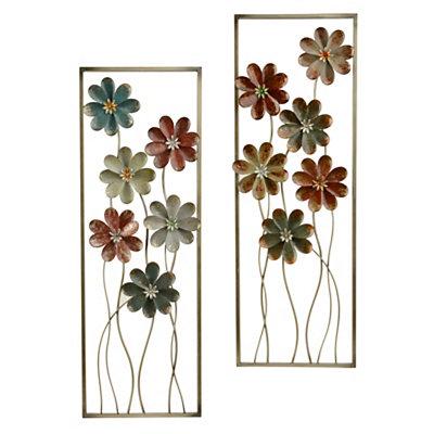 Vintage Blooms Metal Plaques, Set of 2