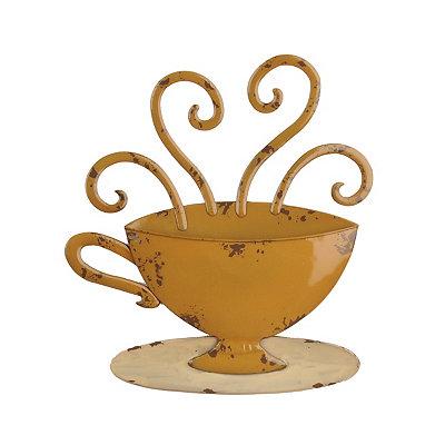 Yellow Coffee Mug Metal Plaque