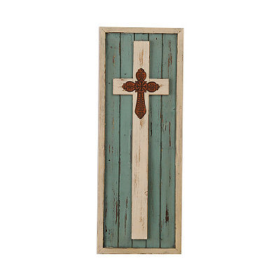 Distressed Ivory Cross Framed Plaque