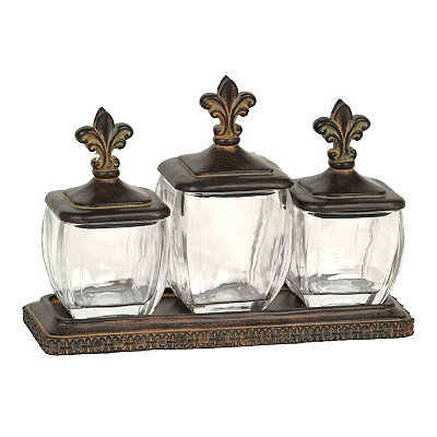 Bronze Fleur-de-lis Jars, Set of 3