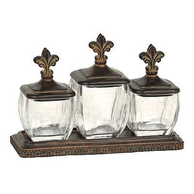 Bronze Fleur-de-lis Jars, Set of 3
