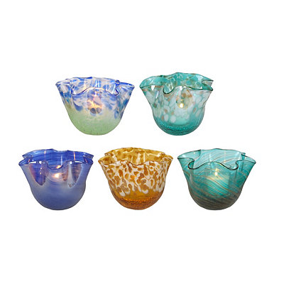 Ruffled Glass Votive Holders