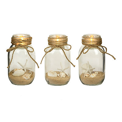 Coastal Jar Candle Holders, Set of 3