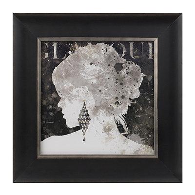 Black Glamour Silhouette Framed Art Print