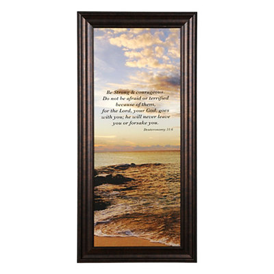 Coastal Be Strong and Courageous Framed Art Print