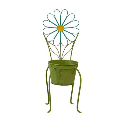 Turquoise Flower Chair Planter