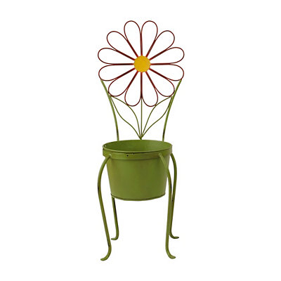 Red Flower Chair Planter