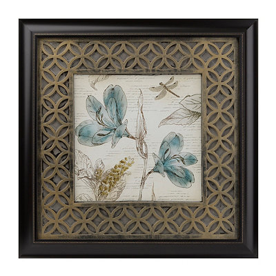 Teal Blossoms I Framed Art Print